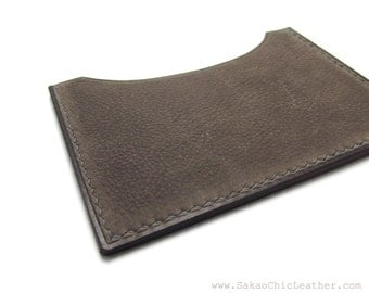 ASH Gray Leather Card Case / Handmade Card Holder / Business Card Case / Wallet / Card Holder / Sakao on Etsy