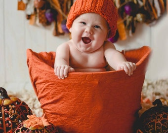Pumpkin Hat - Baby Halloween Costume - Halloween Baby Hat - Halloweeen Newborn Hat - Halloween Costume - Baby Halloween Pumpkin Hat