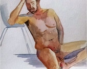 Full Frontal Seated Male Nude - 11x14 Original Watercolor Painting, Mature