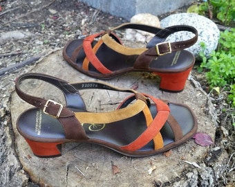 Cobbies Sandals 1960s Sandals 1970s Sandals 60s 70s Mod Earthtone Colors Suede Heels Retro Bohemian Boho Orange Brown Tan Size 6.5 Narrow