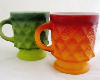 Fire King KIMBERLY MUGS Diamond Pattern Stackable Red-Orange and Green Anchor Hocking