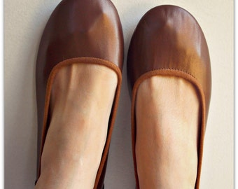 EMMA - Ballet Flats - Chocolate Leather- 41. Available in different sizes