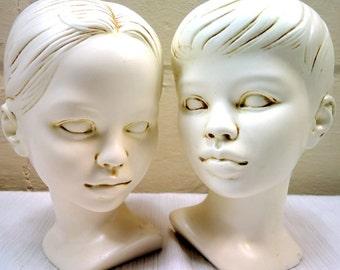 Mid Century Boy and Girl Ceramic Bust Set