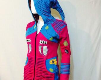Christmas Sale - Womens Pink Owl Hoodie, Womens Jacket