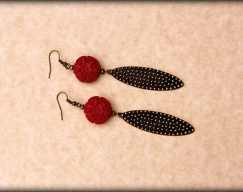 Red Earrings, Red Dangle Earrings, Dangle Earrings, Long Earrings, Brass Long Earrings, Boho Gypsy Tribal Jewelry, Bohemian Earrings