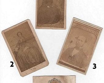 Carte De Visite CDV 1860's Civil War Victorian Era Photograph Paper Ephemera- Buy One or All!