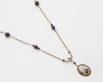 Steampunk Necklace vintage silver watch movement gears with garnet & black crystal pendant, gold flower Statement Necklace Jewelry Gift