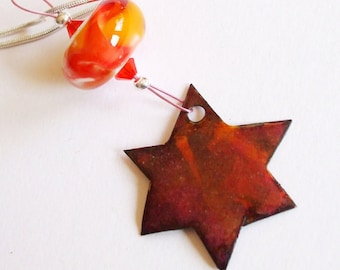 Red Star of David Necklace - Enamel and Lampwork Bead - Fused Glass over Gold on Copper with Crystals - Silver Plated Snake Chain