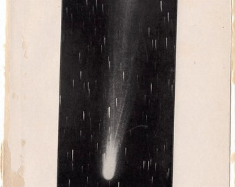 1909 daniels comet original antique celestial astronomy print