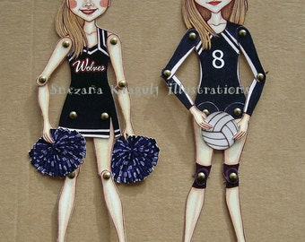 Two Custom Articulated Paper Dolls,Personalized,Made to Order,Handmade,One of a kind