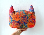 Hand Marbled  Cat  pillow, stuffed animal, gift for cat lovers, nursery decor, home decor