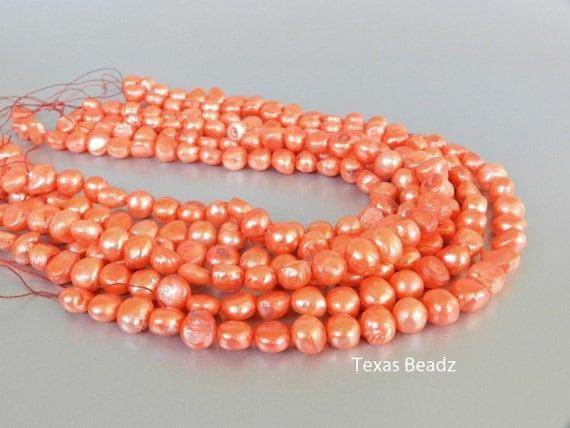 Tangerine Orange Pearls, 10mm Big Pearl Beads, Orange Freshwater Pearls, Loose Pearl Strands
