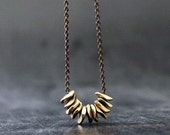 Gold Brass Nuggets Necklace, Simple Minimalist Brass Jewelry