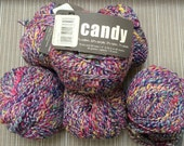 Tweedy 64% cotton blend yarn in primary multi color lot of 6 skeins of Candy by Artful Yarns