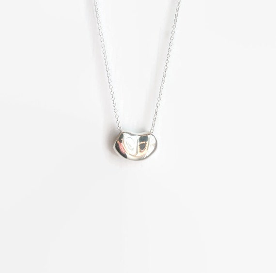 Silver bean necklace - sterling silver designer style bean charm - sterling silver bean kidney jelly coffee - simple classic jewelry - Lisa