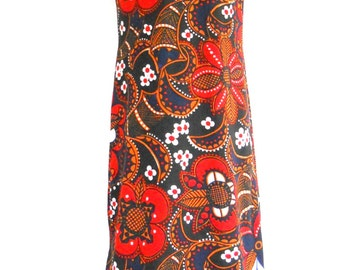 Vintage Hostess Dress •  1960s - 70s Maxi Dress • Bold Floral Print Long Dress