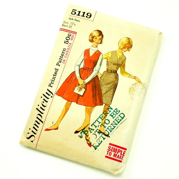 Vintage 1950s Girls Size 12 Sub Teens' One Piece Jumper with Two Skirts Simplicity Sewing Pattern 5119 / bust 31 waist 25 / Complete