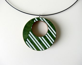 Recycled Skateboard Jewelry Handmade Necklace Pendant - Green with White Stripes