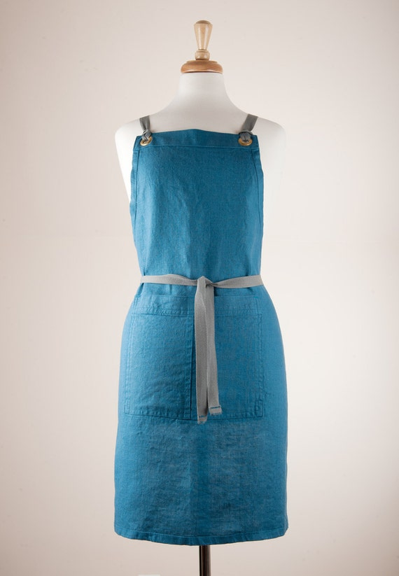 Apron For Kitchen : Full Apron for kitchen. 100% Linen fabric. Teal Blue color.