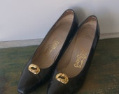 Vintage Black Ferragamo Heels 9 1/2 Narrow