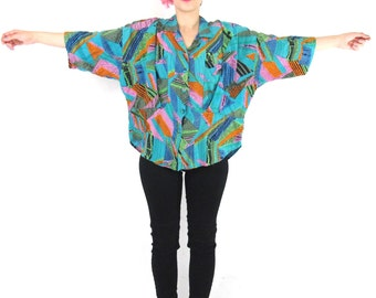 80s Crazy Abstract Print Shirt Colorful Print Blouse Oversize Slouchy Button Down Turquoise Draped Chest Pockets Short Sleeve (L/XL)
