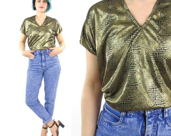 80s Metallic Gold Top Liquid Gold Tshirt Snakeskin Print Black Gold Blouse Boxy Sleeveless V Neck Shirt Slouchy Glam Evening Party Top (S/M)