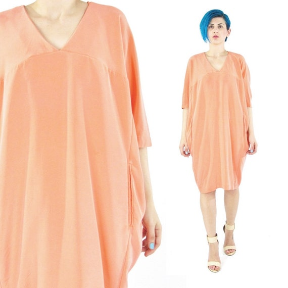 25 off sale coral silk dress cocoon tunic dress peach batwing dress