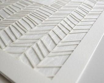 Ketubah Papercut by Jennifer Raichman - Chevron Lines on Japanese Washi Paper