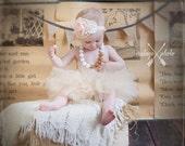 Girls Peach  lace Flower Headband, baby headbands, Shabby Chic Headband