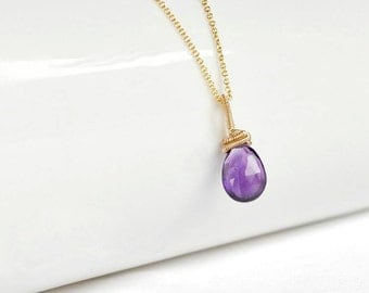 Amethyst pendant,  gold filled, wire wrapped pendant, february birthstone