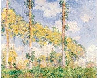 Hand-cut wooden jigsaw puzzle. POPLARS in SUMMER. Claude Monet. Impressionist. Impressionism. Wood, collectible. Bella Puzzles.