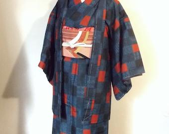 Vintage casual KIMONO HAORI ensemble Oshima TSUMUGI indigo navy blue red size M ready to ship