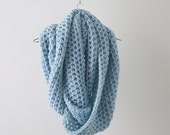 Infinity Scarf oversized circle cowl/The Blanket Scarf/in Reservoir/ baby blue handmade chunky knit wrap