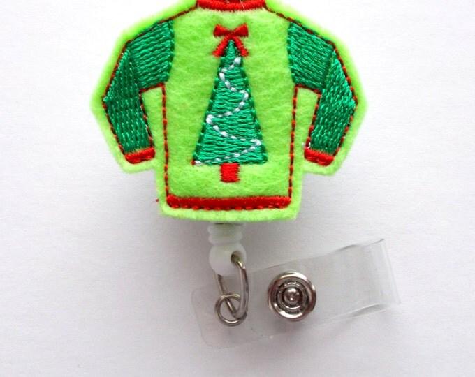 Ugly Christmas Sweater Green - Retractable ID Felt Badge Holder - Christmas Badge Reel - Nurses Badge Holder - Medical Badge - Teacher Badge