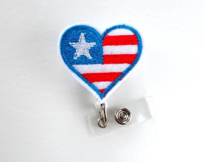 American Flag Heart - RN Badge Holder - Nurses Badge Holder - Nursing Badge Holder - Medical Badge Reel - Hospital Badge Reel - 4th of July