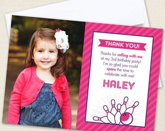 Pink Bowling Photo Thank You Cards - Professionally printed *or* DIY printable