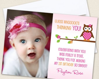 Owl Photo Thank You Cards - Professionally printed *or* DIY printable