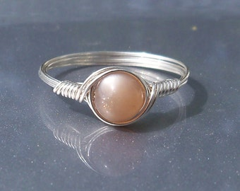 Peach Moonstone Ring, Argentium Sterling Silver Ring,  Wire Wrapped Ring, Stone Ring, Gemstone Ring