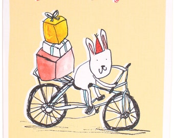 Happy birthday, rabbits, bicycle, presents, birthday card, handmade and recycled in England, original illustration