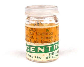 1960 Stillwater Drug Store Glass Prescription Medication Pill Medical Oklahoma Souvenir Pharmacy Doctor Hospital Apothecary Druggist Oddity