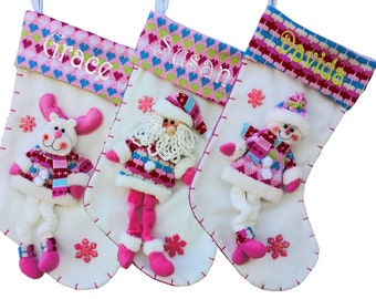 Pink Girly Sweet Cute Christmas Stockings Personalized Stockings Girl Snowman Custom Personalized Embroidered Name for Girls Hot Bling