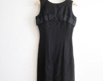 50s Black Lace Wiggle Dress, Black Wiggle Dress, Vintage Black Lace Wedding Dress, Black Bridesmaid Dress, SALE