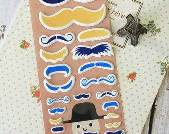 BLUE Happiness MUSTACHE embossed cartoon stickers