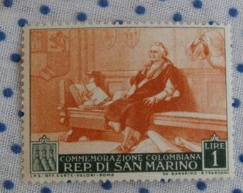 Commemorazione Colombiana San Marino 1 Lire Stamp, 1952