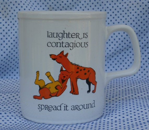 contagious laughter hyena mug coffee