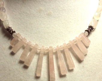 Rose Quartz Necklace Rose Quartz Fan Necklace Rose Quartz Pink Mini Fan Cleopatra Necklace with Sterling Silver Bali Beads and Closure