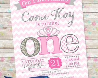 Princess Birthday Invitation, 1st Birthday Party Invite, Pink and Silver Glitter, ONE Little Princess, Printable Invite, Princess Party, DIY