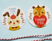 """50% OFF Set of 20 - Rabbit and Bear - Round or Round Scalloped Edge Thank You Stickers 2"""" - Product Sticker, Wedding Sticker, Envelope Seals"""