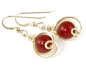 Red Carnelian Sterling Silver Earrings, Cute Wire Wrapped Red Holiday Earrings