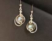 Labradorite Drop Earrings Fine Sterling Silver Iridescent Blue and Gray Gemstone Unique Wire Drop Earrings